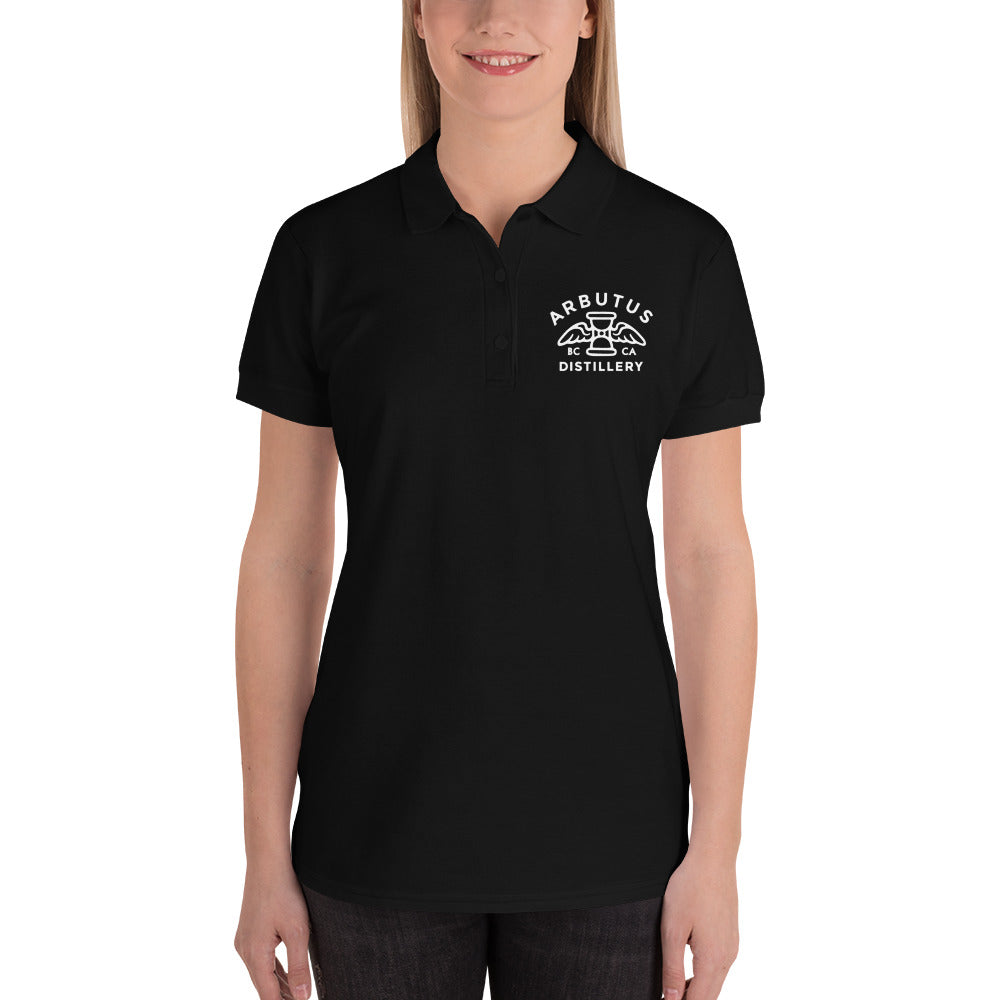 Arbutus Distillery - White Logo - Gildan 82800L Embroidered Women's Polo Shirt, Shirt, Arbutus Distillery - MerchHeaven.com