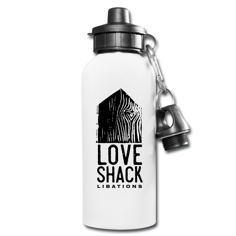 Love Shack Libations - Black Logo Water Bottle - white