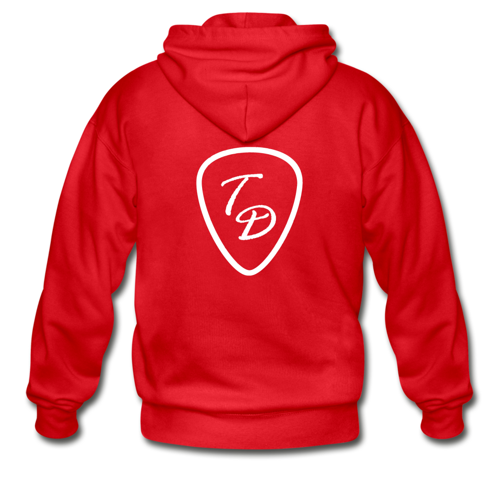 Travis Dolter - White Logo - Gildan Heavy Blend Adult Zip Hoodie, Hoodie, Travis Dolter Music - MerchHeaven.com