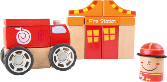 Fire department wooden construction set