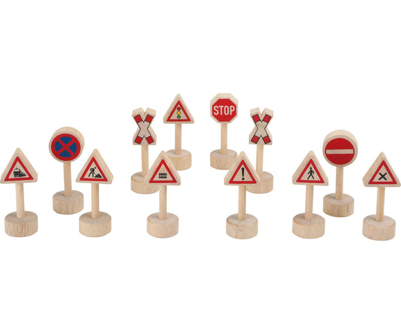Traffic signs for train sets, set of 12 TRAINible
