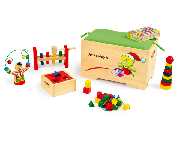 Toy Chest and 6 wooden toys