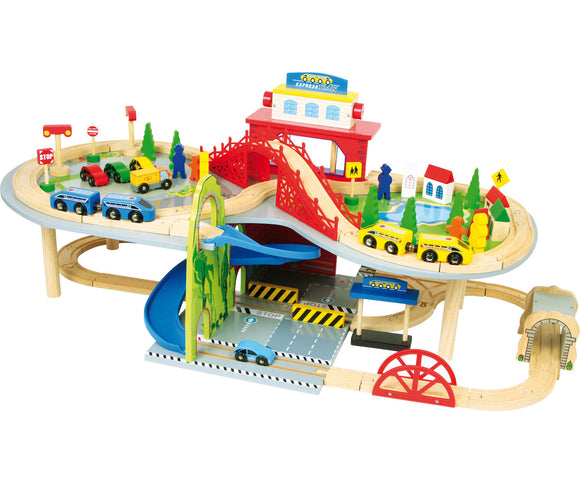 Wooden Railway Multistorey - 80 pcs