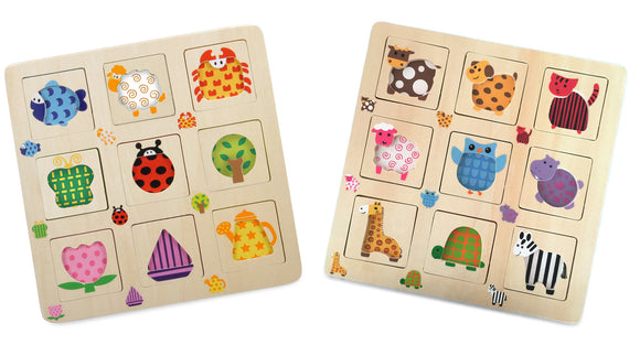 Pattern-matching wooden puzzle, set of 2