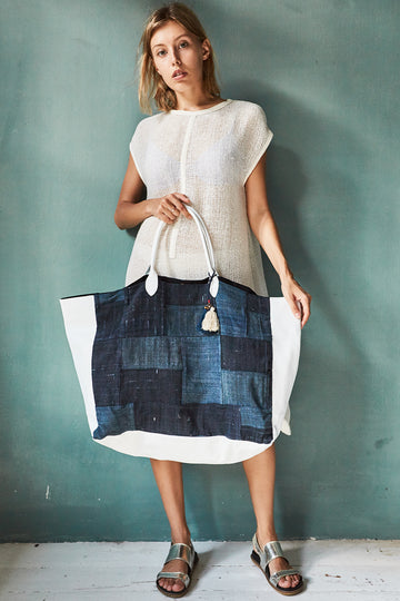 Indigo Hemp Patchwork Bag Dual