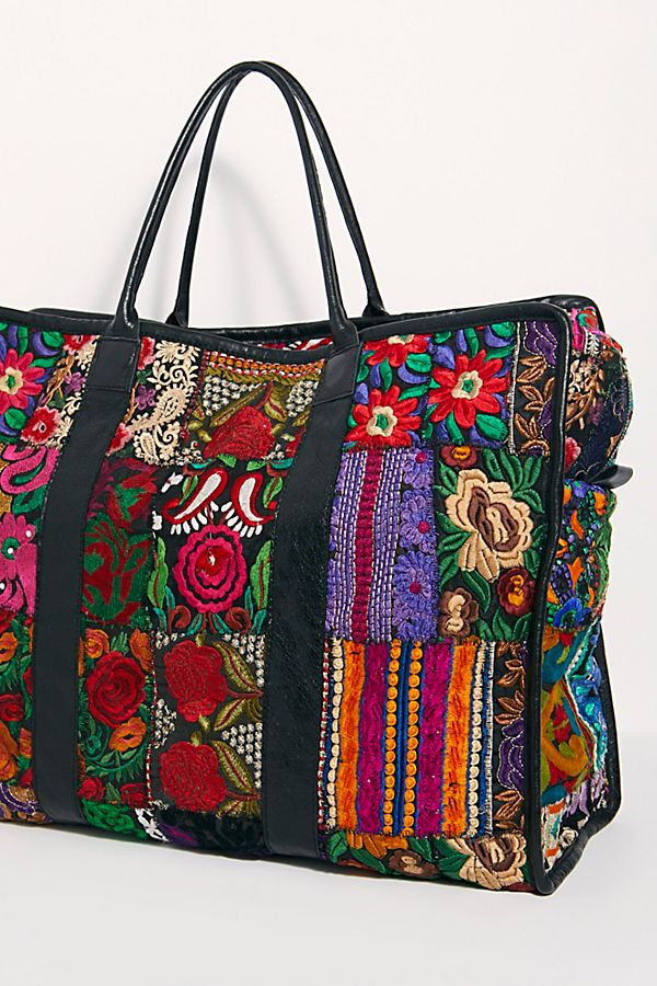Embroidered Patchwork Weekender Bag Alaia
