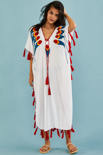 Summer White Beach Kaftan Dress Shiona
