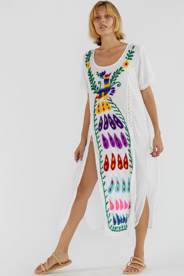 Hand Embroidered Bohemian Love Kaftan Feather Aerin