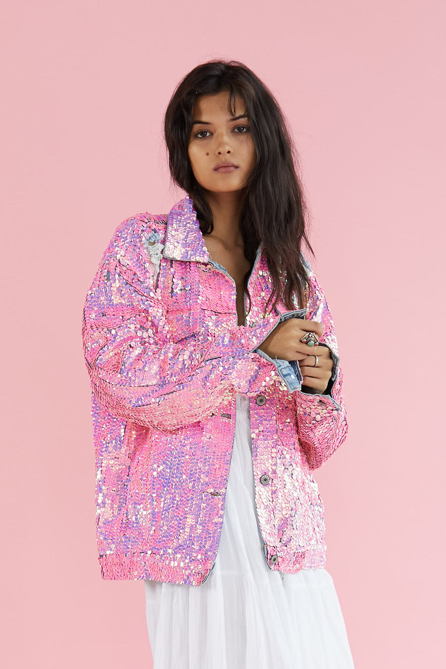 Pink Sequin Denim Jacket Demi