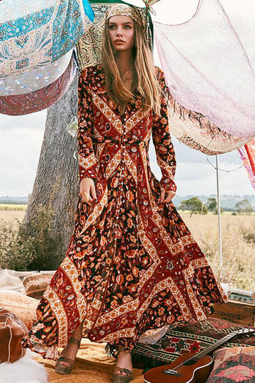 Floral Print V-Neck Long Sleeve Women Dresses Boho Maxi Dress Shaea