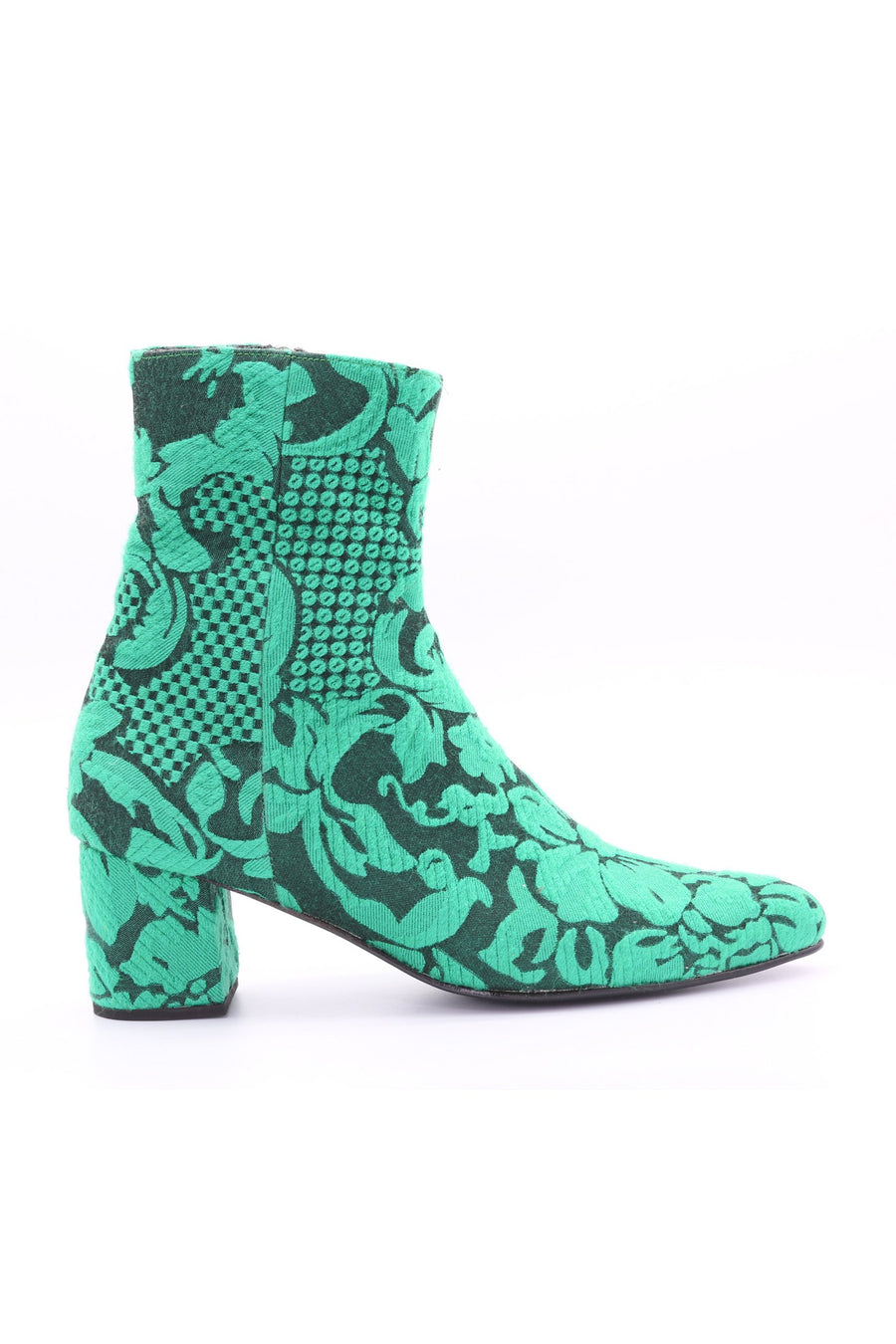MOMO NEW YORK FOREST GREEN COTTON EMBROIDERED ANKLE BOOT