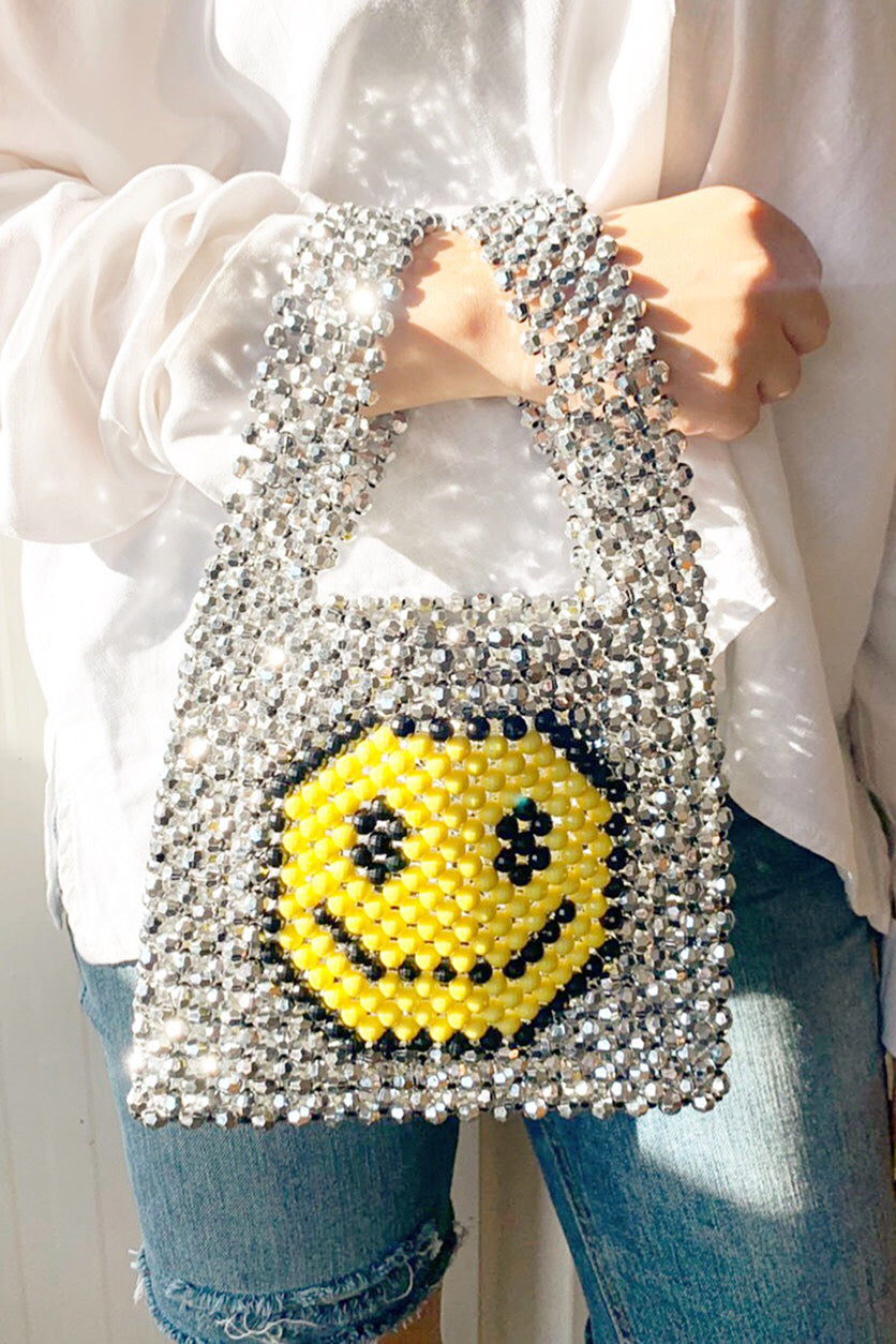 Smiley Beaded Tote Bag Leandra