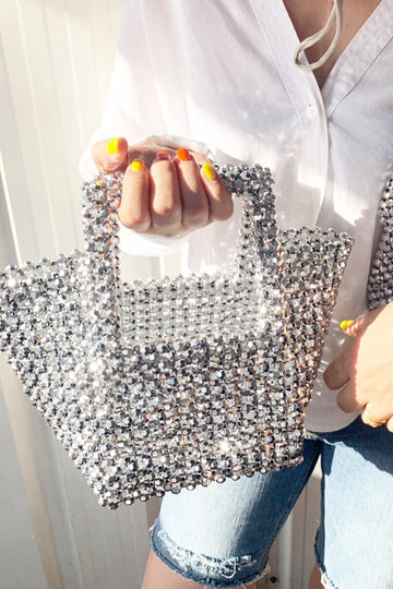 MOMO Silver Gold Sparkle Beaded Bag