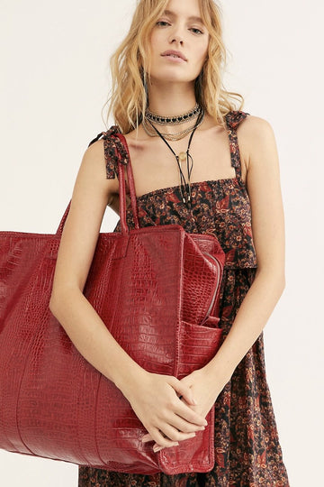 MOMO Red Crocodile Embossed Miami Mega Weekender