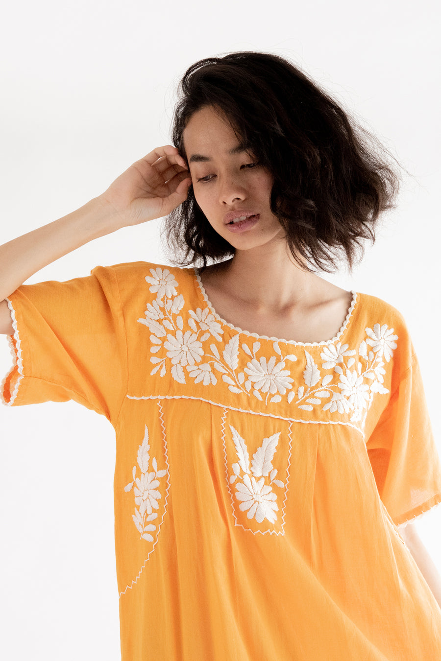 Orange Bohemian Embroidered Dress Maisy