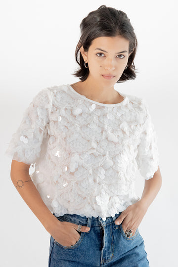 Sequin Embroidered Top Ivy