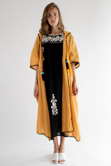 Hoodie Embroidered Kaftan Yellow