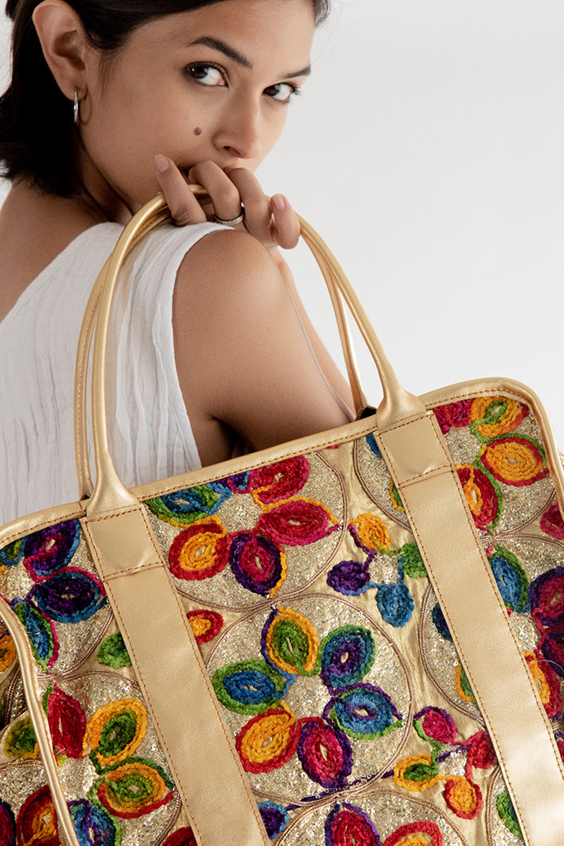 Bohemian Gold Embrodiered Bag Tribeca