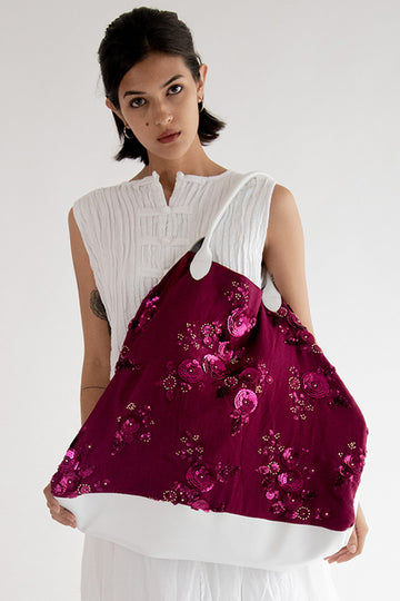 Chiffon Silk Sequin Flower Embroidered Bag Kassy