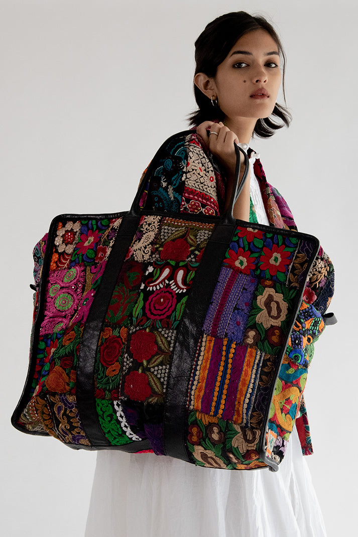 MOMO FREE PEOPLE Embroidered Weekender XXL Bag Alaia