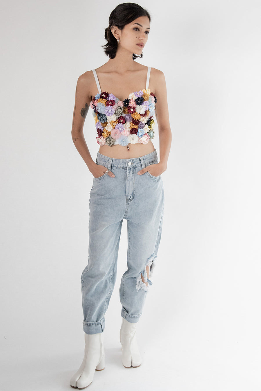 Flower Embroidered Top Claude