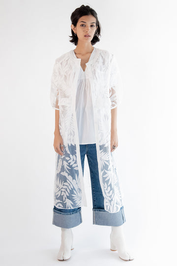 White Cotton Lace Kaftan Coat Kairi