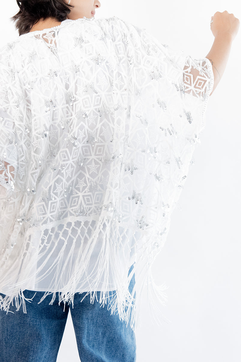 Sequin Embroidered Kaftan Jacket Canyon