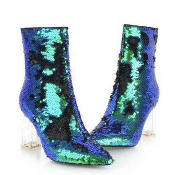MOMO Turquoise Blue Green Sequin Bootie Boots Free People