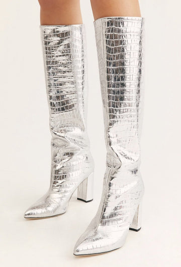 MOMONEWYORK FREE PEOPLE Silver Good Fortunate Tall Boots