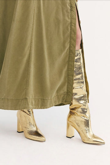 MOMO FREE PEOPLE Gold Good Snake Fortunate Tall Boots