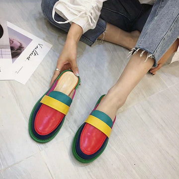 Color Loafer Leather Slipper