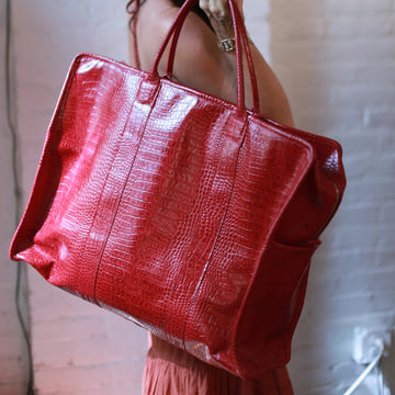 MOMO FREE PEOPLE Embossed Red Crocodile Weekender Bag