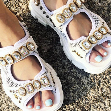MOMO FREE PEOPLE RHINESTONE SPORTY SUMMER SANDALS