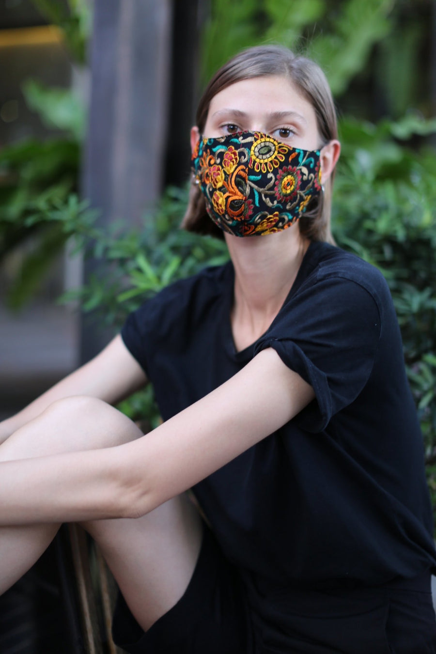 CHIFFON EMBROIDERED FACE MASK MARLA MOMO NEW YORK