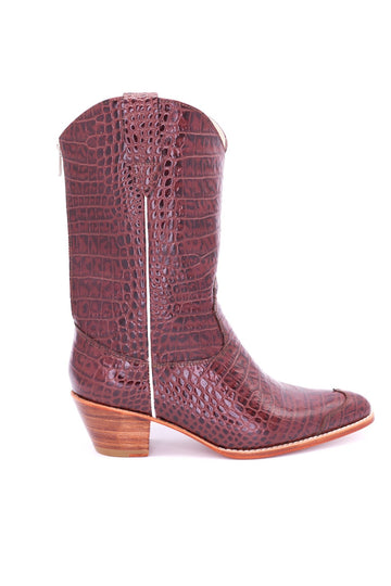 CROCODILE EMBOSSED CLEAN COWBOY BOOTS MICHELLE MOMO NEW YORK