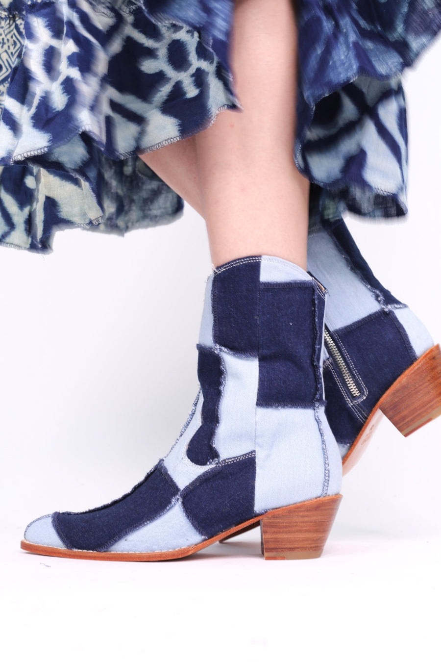 DENIM PATCHWORK BOOTS ANNIKA - MOMO NEW YORK