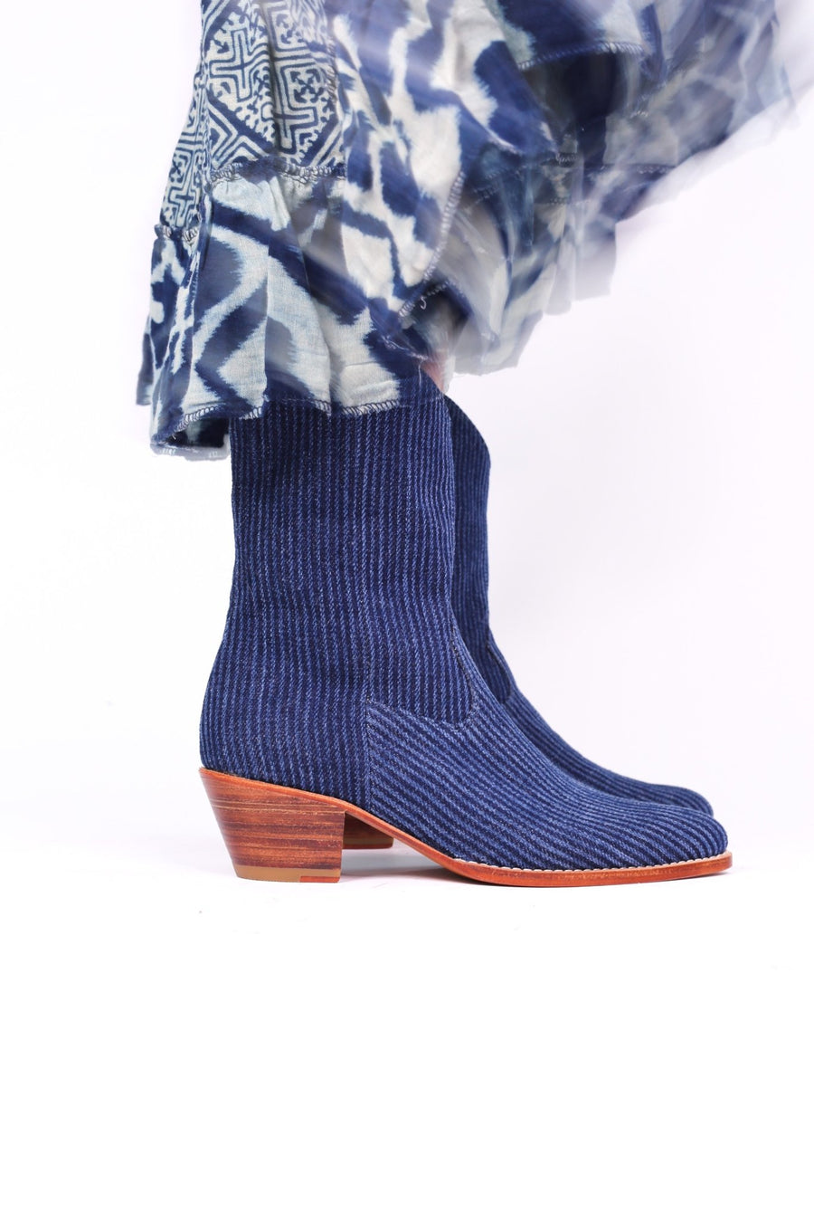 DENIM STRIPE ANKLE BOOTS TUZIA MOMO NEW YORK