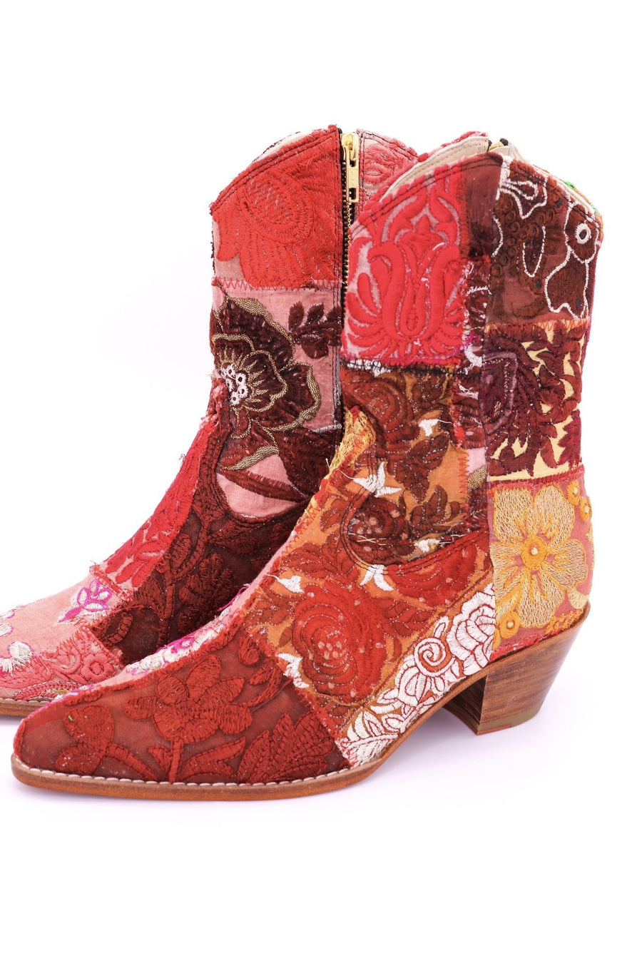 EMBROIDERED PATCHWORK ANKLE BOOTS GINALYN (RED) - MOMO NEW YORK