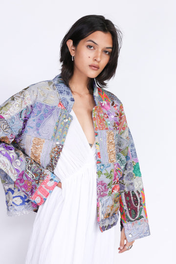 Embroidered Patchwork Bomber Jacket Serena MOMONEWYORK