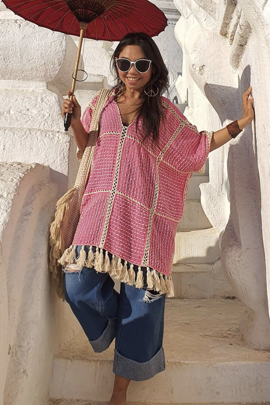 EMBROIDERED TASSEL KIMONO TOP ANGELIQUE MOMO NEW YORK