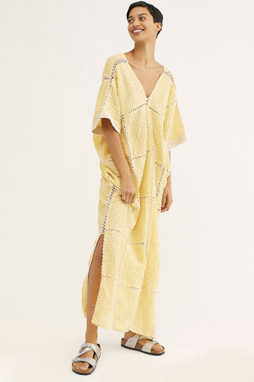 HAND EMBROIDERED KAFTAN DRESS LUPITA x FREE PEOPLE MOMONEWYORK