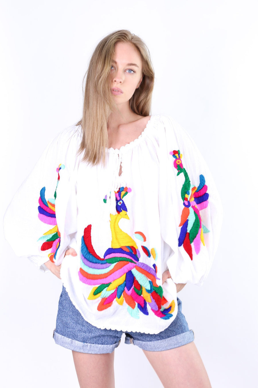 HAND EMBROIDERED PEACOCK TOP ROSALIE MOMO NEW YORK