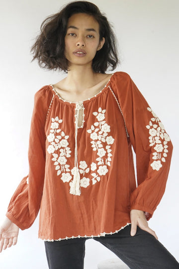 I LOVE IT AT HOME HAND EMBROIDERED TOP MILA MOMO NEW YORK
