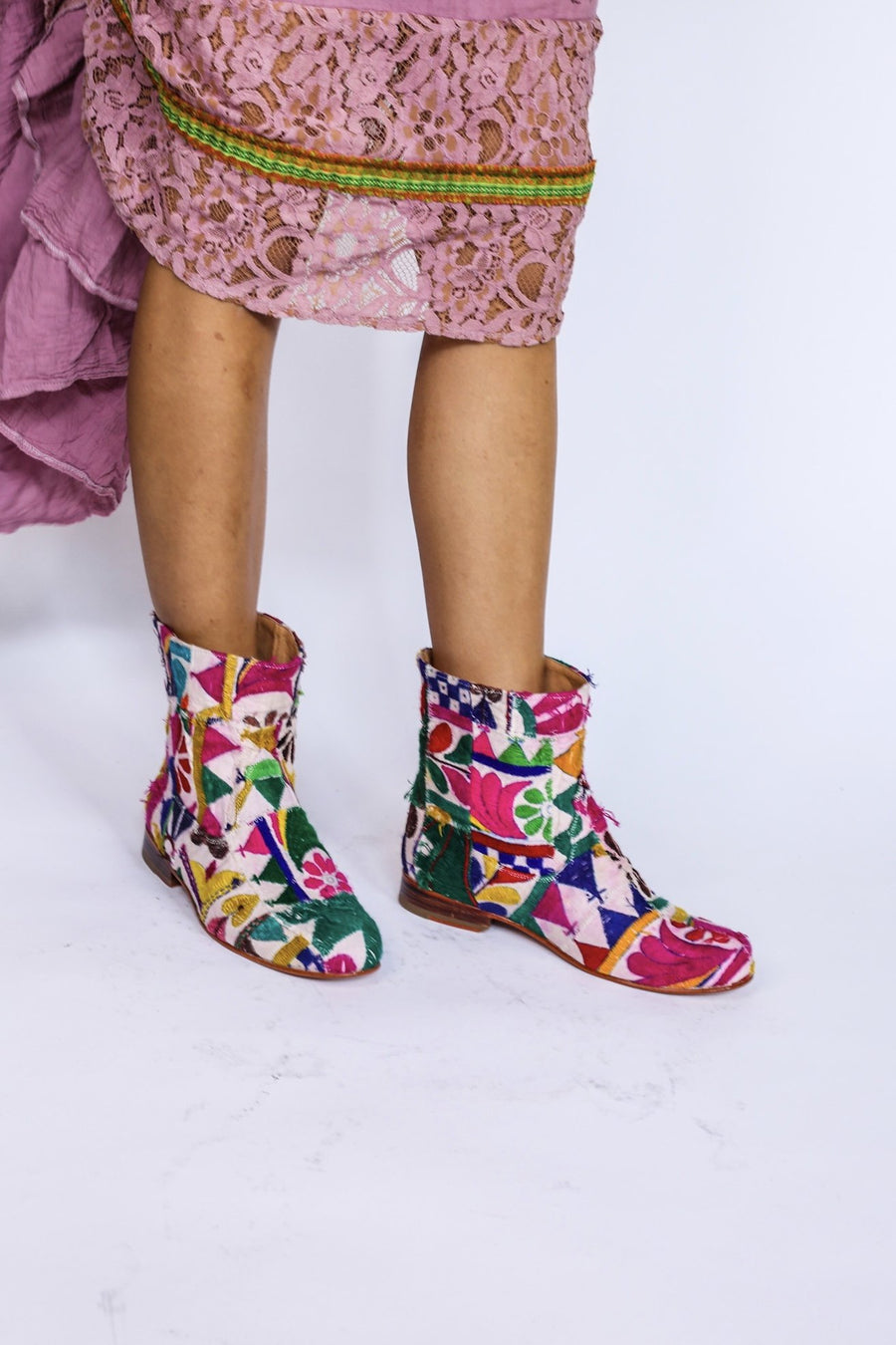 MOMONEWYORK MOMO Embroidered Patchwork Boots Romy