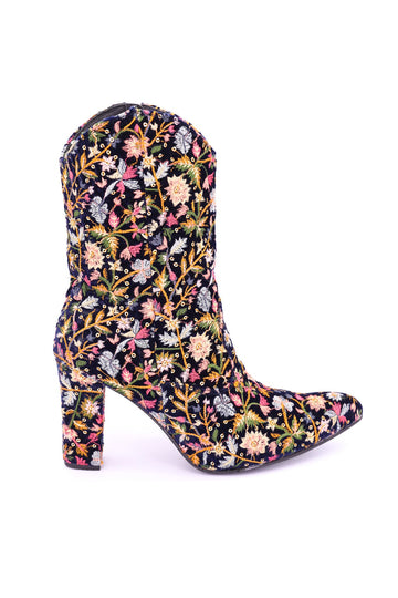 HEEL BOOTS MONIKO EMBROIDERED VELVET MOMO NEW YORK