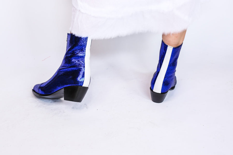 Purple White Abba Disco Boots Anni