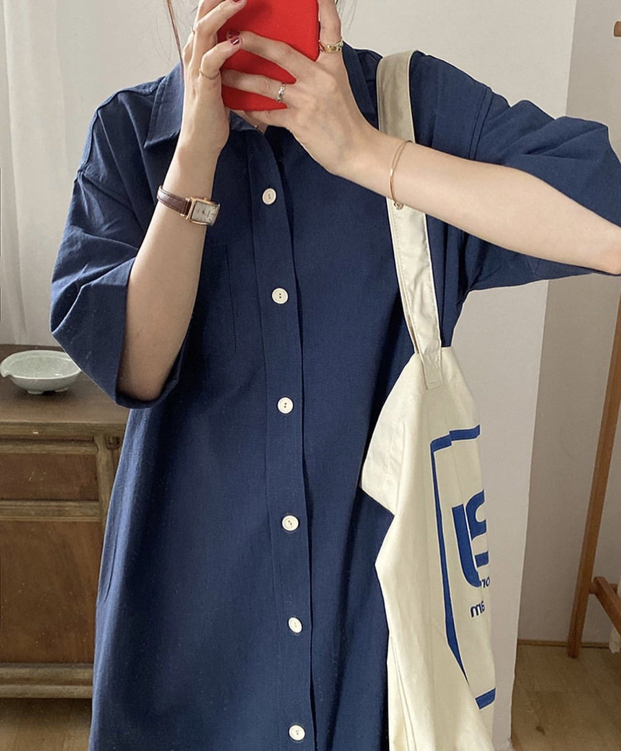 BUTTON DOWN DRESS SHIRT DRESS ANNI MOMO NEW YORK