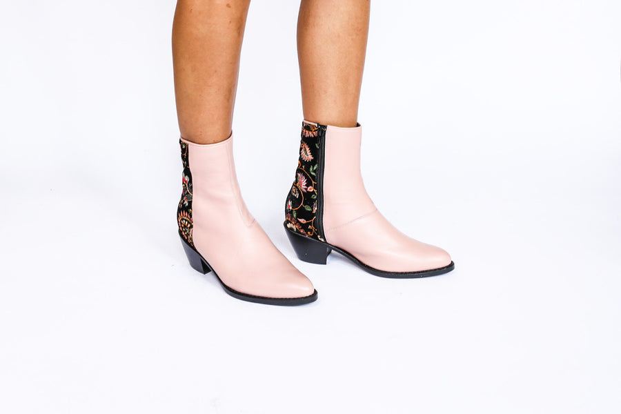 Nude/ Pink Velvet Embroidered Ankle Boots Sophie