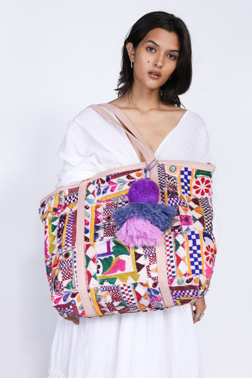 MOMONEWYORK Free People Embroidered patchwork tote marlowe