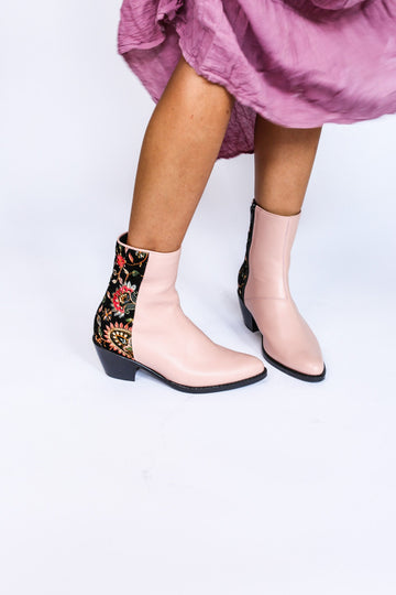 MOMONEWYORK MOMO Nude/ Pink Velvet Embroidered Ankle Boots Sophie Anthropologie